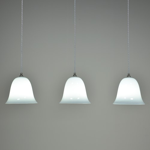 Large Opal Bell Shade Pendant Lights