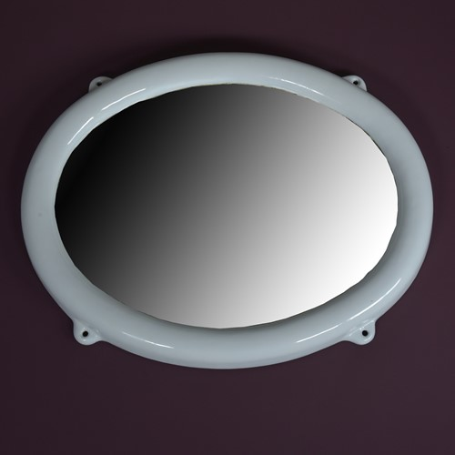 Enamelled Iron Oval Mirror