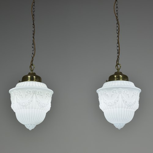 Pair Antique Edwardian Opaline Pendant Lights