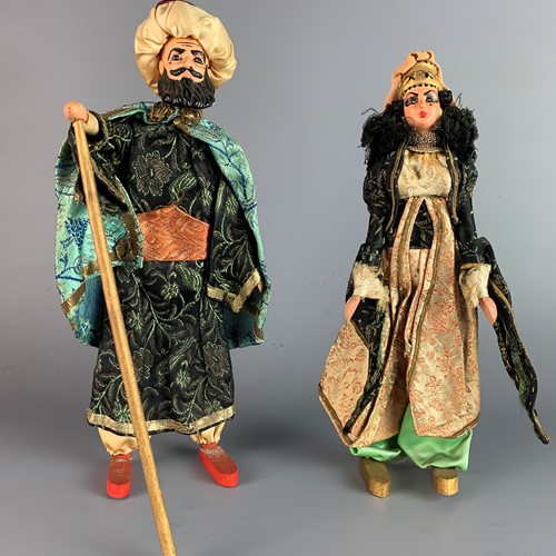 Pair of Vintage Elmassian Lebanese Costume Dolls