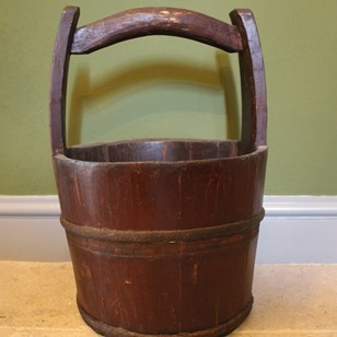 Antique Chinese Iron Bound Coopered Water Bucket