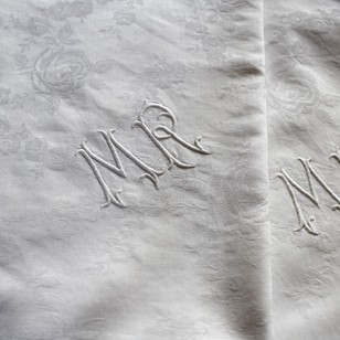 Pair French Monogrammed Damask Linen Pillowcases