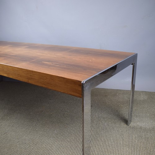Merrow Associates Rosewood & Chrome Coffee Table