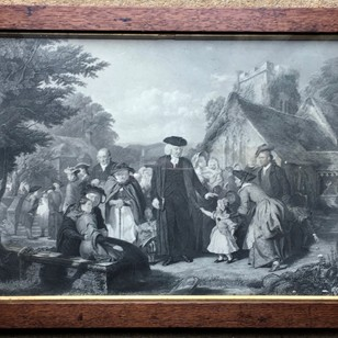 Framed Engraving of John Wesley and Followers