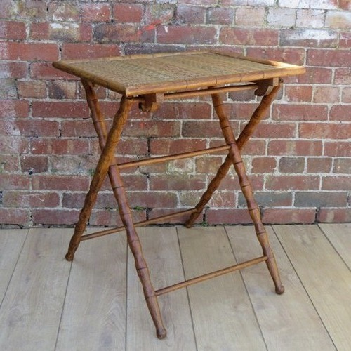Antique Faux Bamboo & Rattan Side Table
