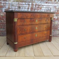 Empire Mahogany Marble Top Chest Of Drawers