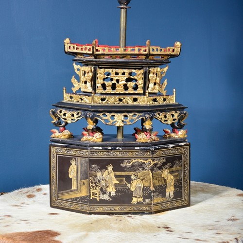 Parankan Gilt Lacquer Offering Box Table Lamp