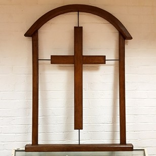 Midcentury Oak Framed Crucifix