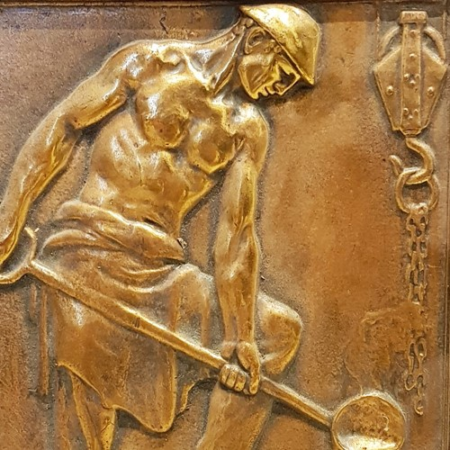 Industrial Copper Relief Plaque by Korschann