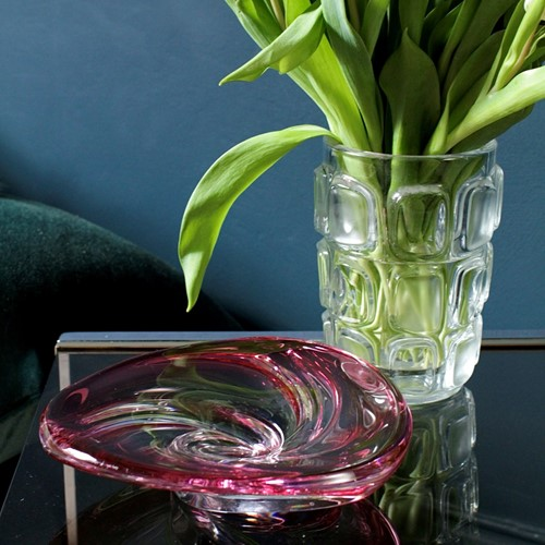 Val St Lambert Cranberry Art Glass Dish