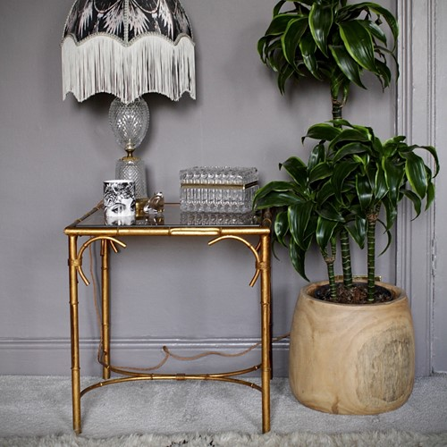 Beautiful Gilt Bamboo Side Table by Hans Kögl