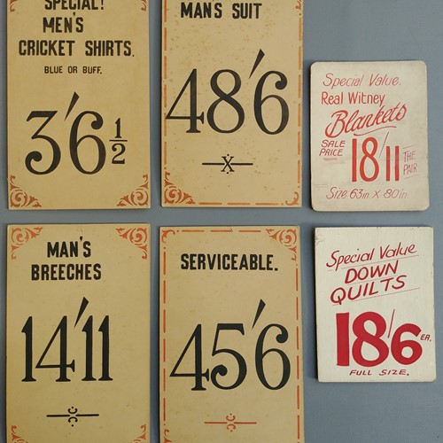Vintage shop price cards