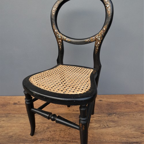 Miniature ebonised balloon back chair