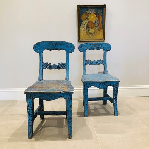 Beautiful Swedish Blue Scratched Painted Chairs