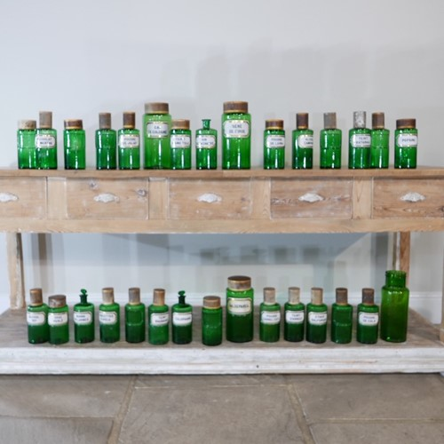 Run of Rare Green Apothecary Jars