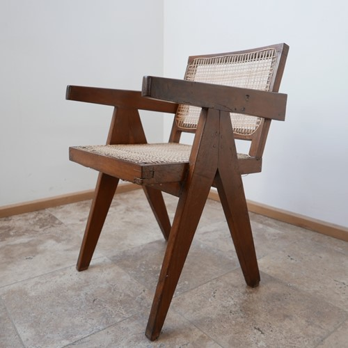 Pierre Jeanneret Teak and Cane office chair