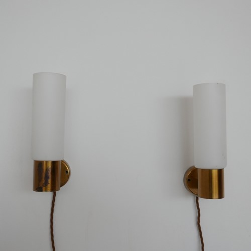 Pair of Mid-Century Brass and Glass Wall Lights