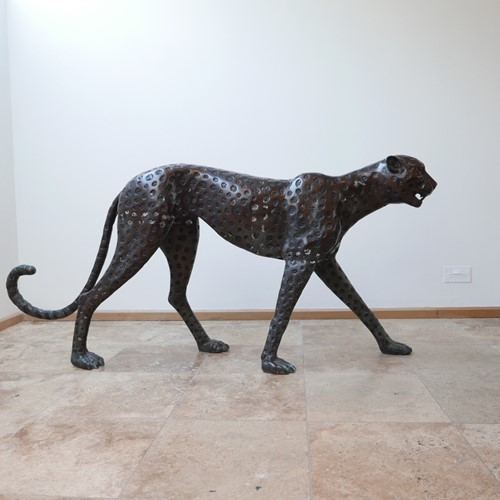 Life Size Mid-Century Patinated Bronze Cheetah