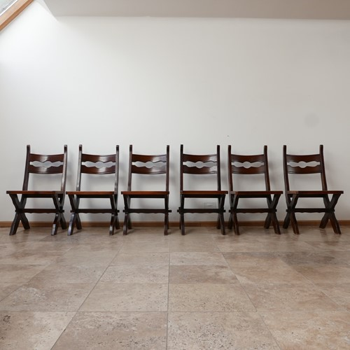 Brutalist Set of Six Belgium Dining Chairs (6)