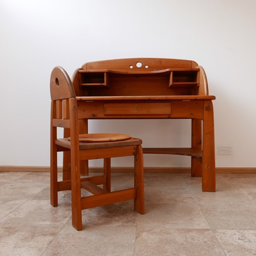 Pine Mid-Century Desk and Chair