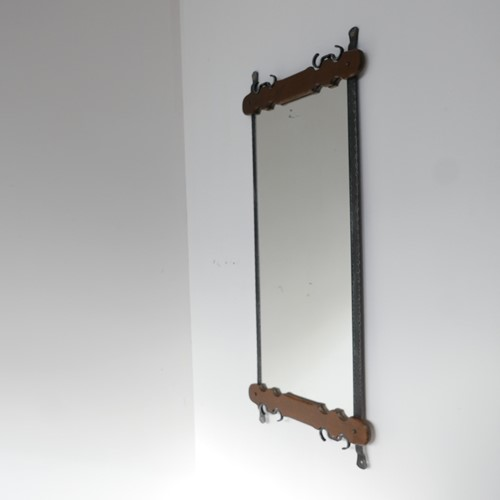 Brutalist Mid-Century Belgium Iron and Wood Mirror