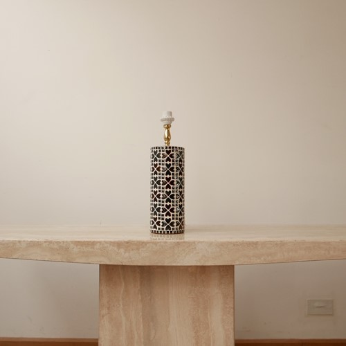 Swedish Mid-Century Mosaic Ceramic and Brass Table