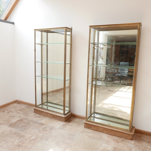 Pair of Brass Antique French Vitrine cabinets