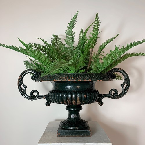 19th C French Cast Iron Urn With Decorative Handle