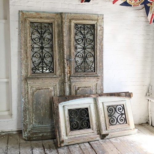 18th C French Oak Chateau Doors With Transom
