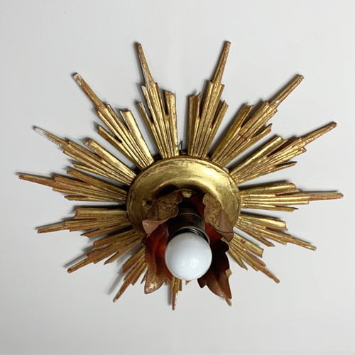 Wooden Hand Carved Sunburst Flush Mount Light