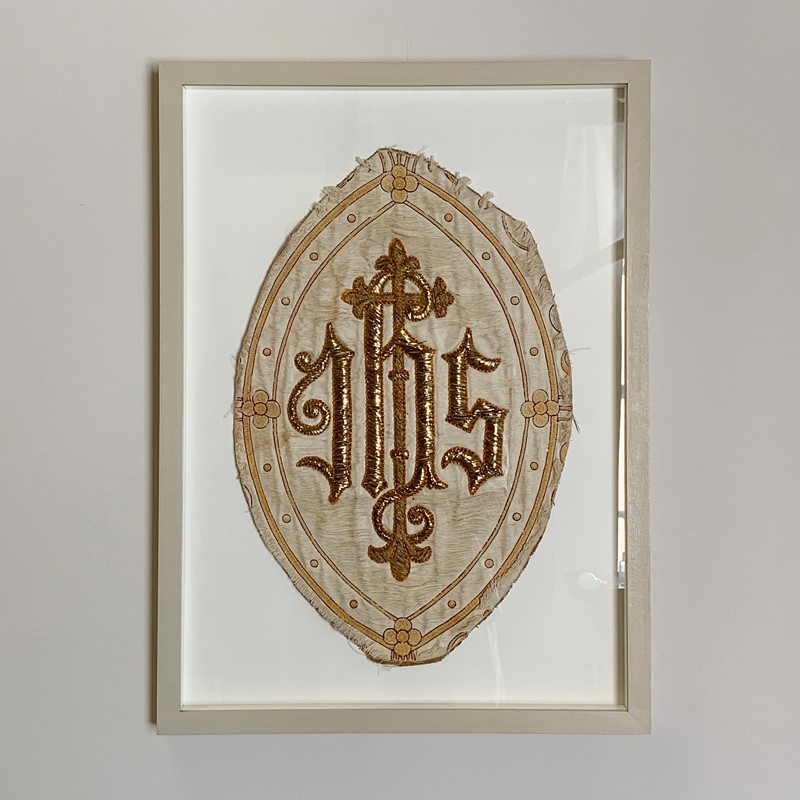 Antique French 'IHS' Embroidered Religious Panel-lct-home-img-2953-main-637207293061255475.jpg