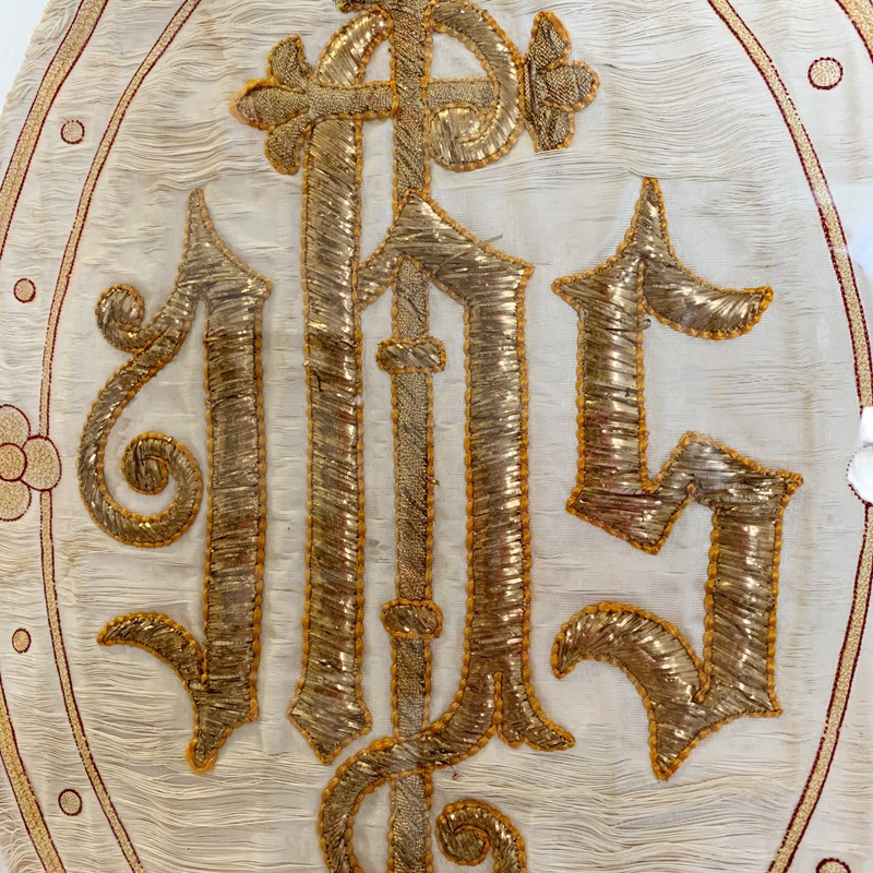 Antique French 'IHS' Embroidered Religious Panel-lct-home-img-2956-main-637207293125005488.jpg