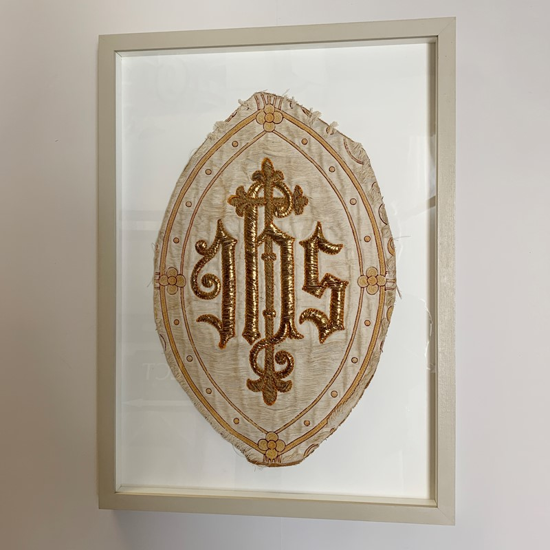 Antique French 'IHS' Embroidered Religious Panel-lct-home-img-2960-main-637207290411628838.jpg