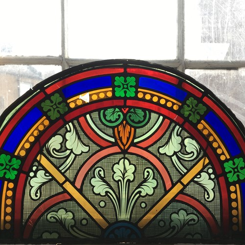 19th C French Hand Painted Stained Glass Panel