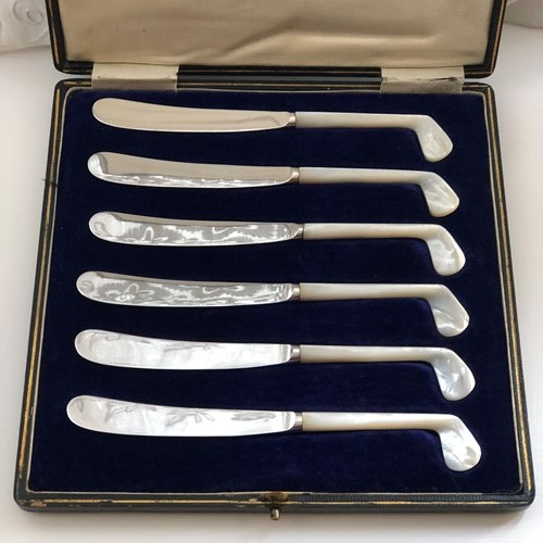 Tea Knives with Pearl Handles Formed As Golf Clubs