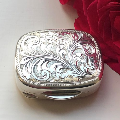 A Sterling Silver Hand Engraved Small Box
