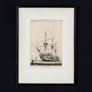 Framed Dry Point Etching of the HMS Victory.