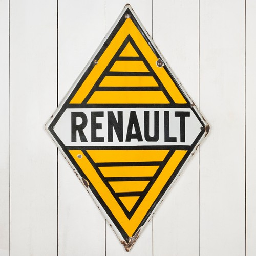 Wonderful, double-sided Renault enamel sign