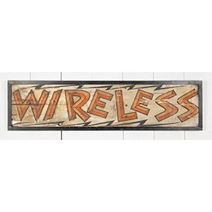 'Wireless' - wonderful, painted wooden signage