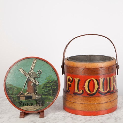 Wooden Flour Bin w. Vibrant Painted Decoration