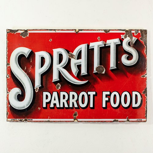 Spratt's parrot food - unusual enamel sign