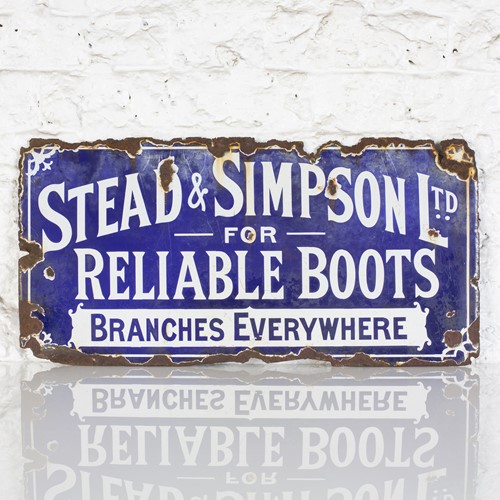 Stead & simpson for reliable boots - enamel sign