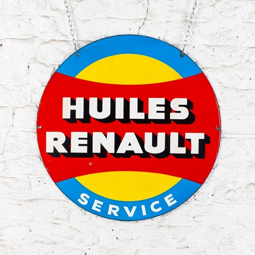 Vibrant, double-sided huiles renault enamel sign