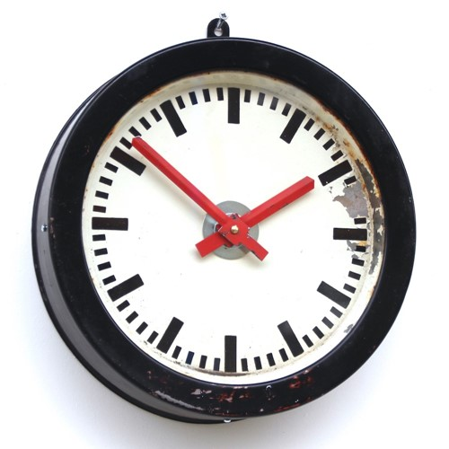 East German 1960s industrial vintage wall clock