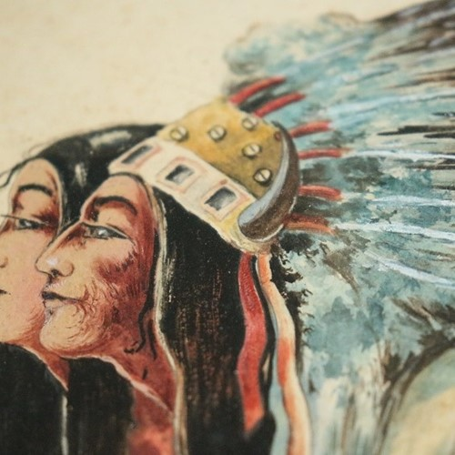 Pair of signed `Native American` Watercolors
