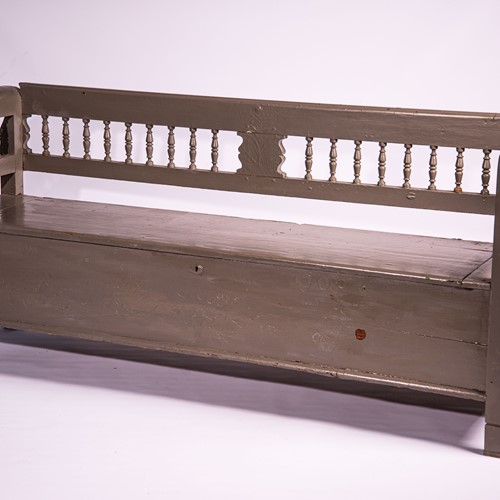 Taupe Painted Hungarian Wooden Bench