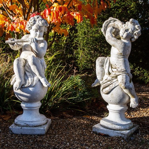 Pair of 20thC French Musician Cherubs