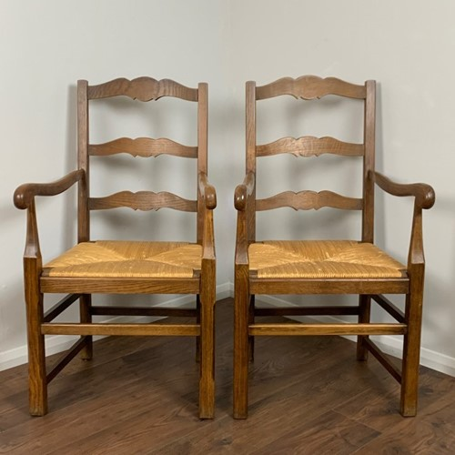 Vintage French Oak Slatback Chairs, Pair