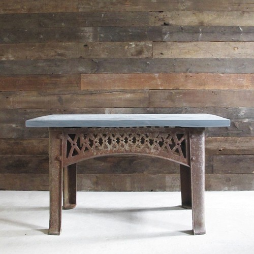 Slate-topped industrial table