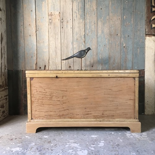 19th C pine blanket box chest